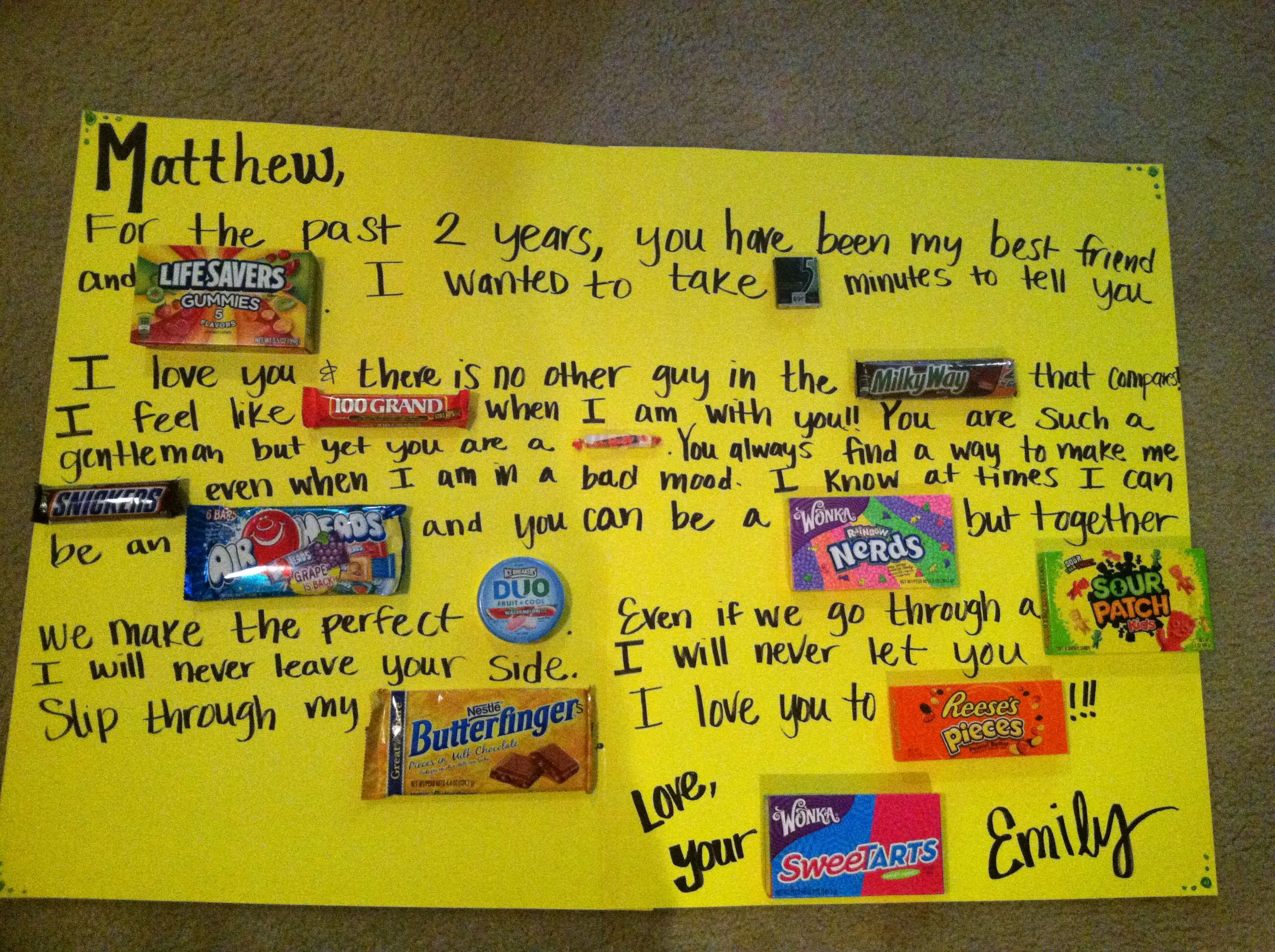 Candy card for two year anniversary | Gift Ideas | Pinterest ...