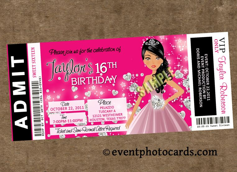 Sweet Sixteen VIP Ticket Style Party Invitations – Sweet 16 Party Invites