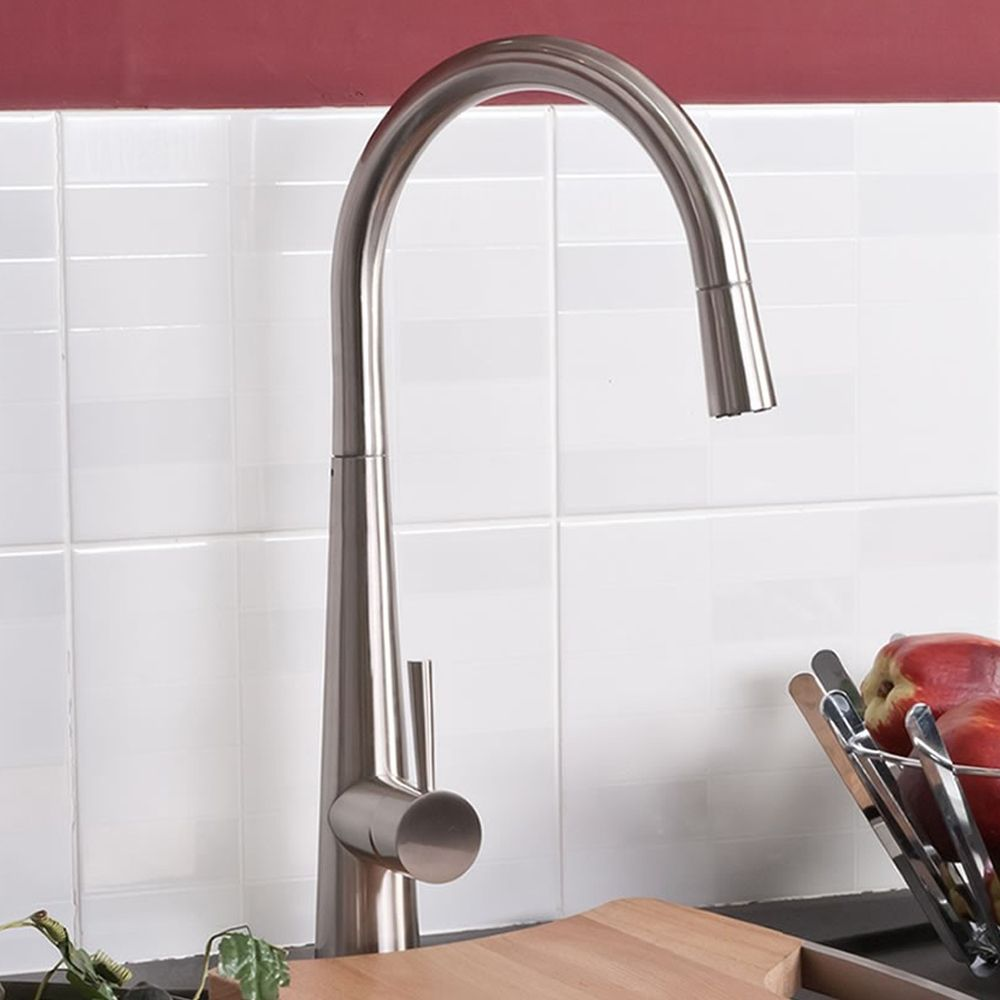 della designer kitchen tap - brushed steel mixer - pull out spray