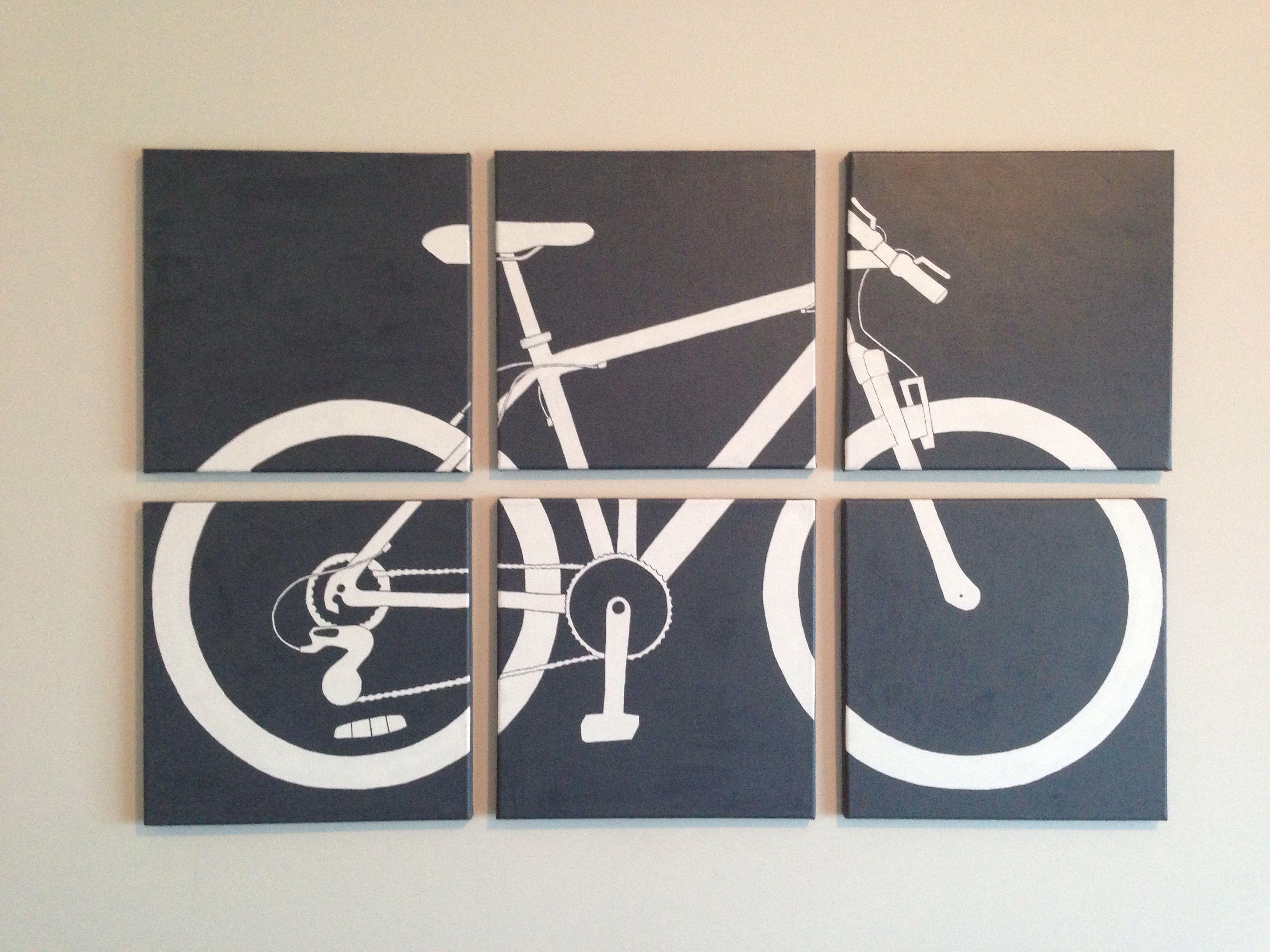 DIY canvas wall art. Bike silhouette.