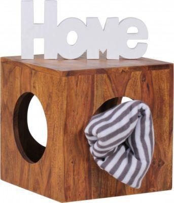 Wohnling WOHNLING Beistelltisch MUMBAI Massivholz Sheesham 35x35 - wohnzimmer design landhaus