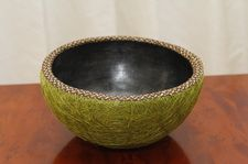 "Chamba and Fique bowl with Cana Flecha rim - 8.75"" x 4.5""  $89"