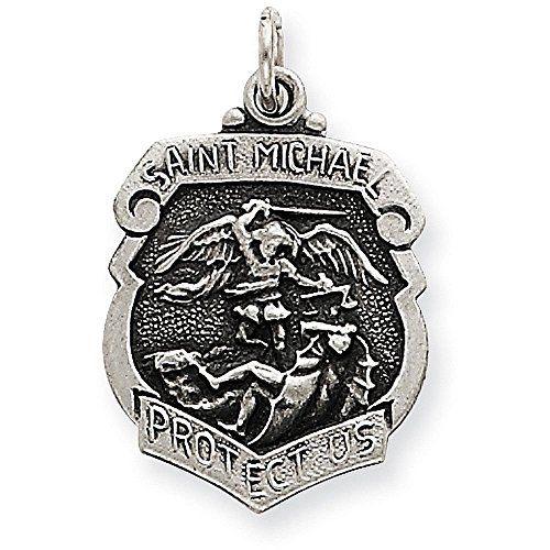 925 Sterling Silver Saint Michael Badge Medal Pendant Charm Necklace Religious