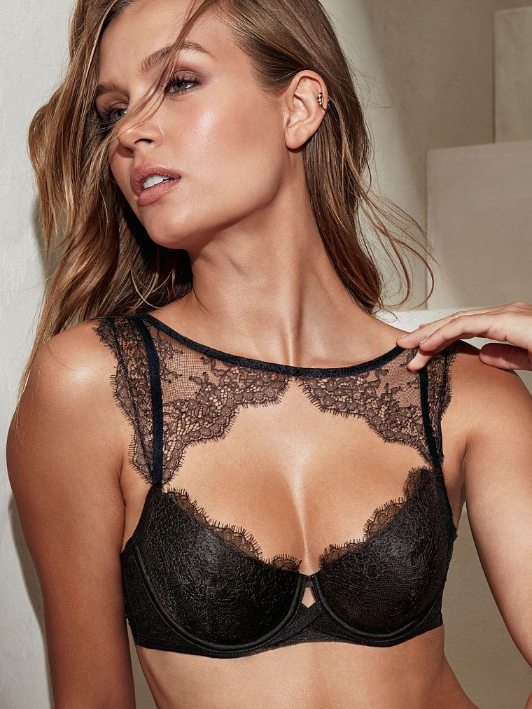 Victoria's Secret Chantilly Lace High-Neck Demi Bra, Black (36C ...