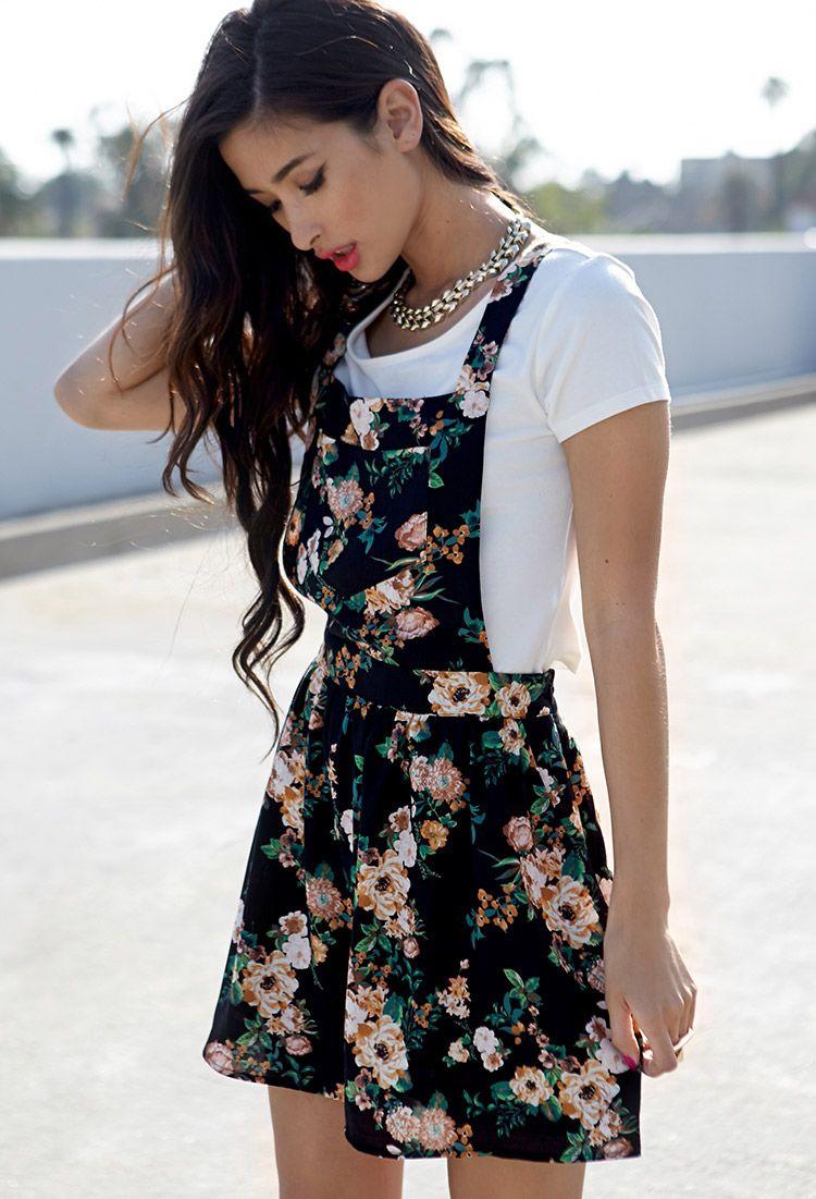 6d07b1cbdd56 Floral Print Overall Dress