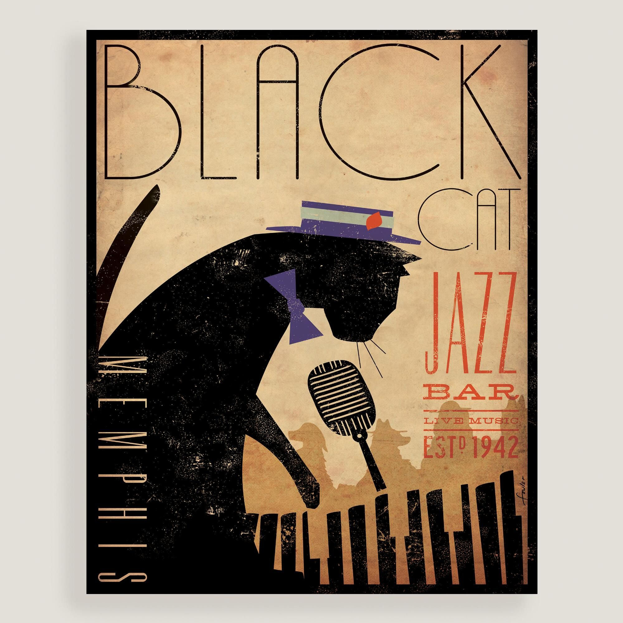 Jazz up your wall with this poster-inspired piece, featuring an ...