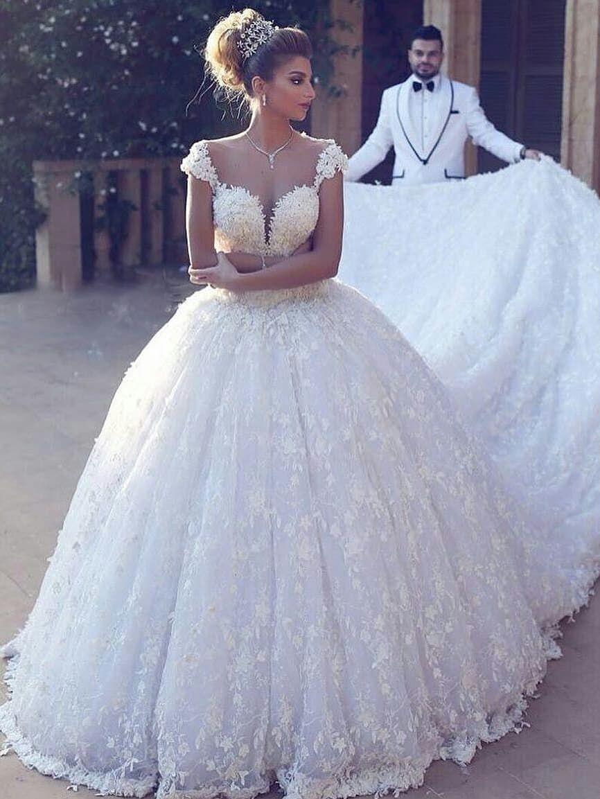 Elegante Brautkleider Prinzessin  Weiße Spitze Hochzeitskleider