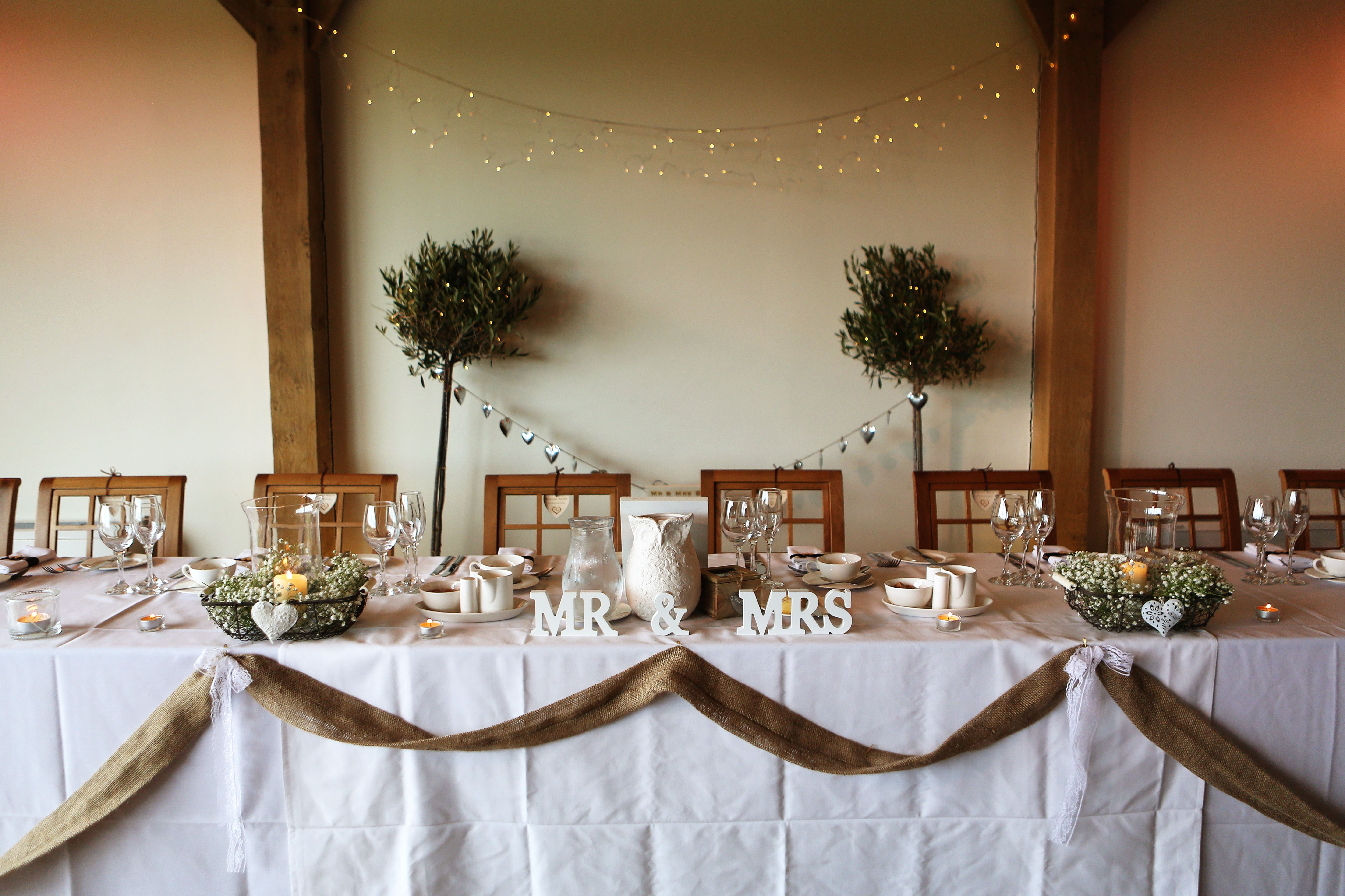 Rustic head table, Mr & Mrs, burlap | Head table wedding ...