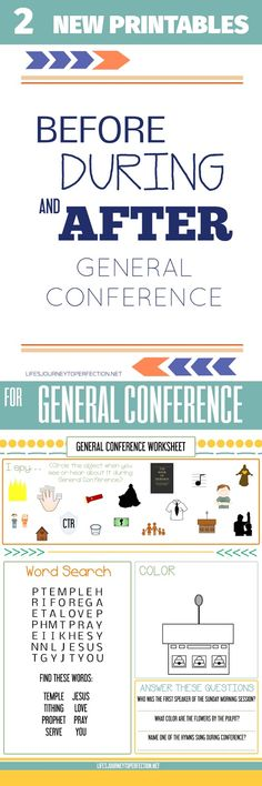General Conference Packet and Worksheet! (Before, During and After ...