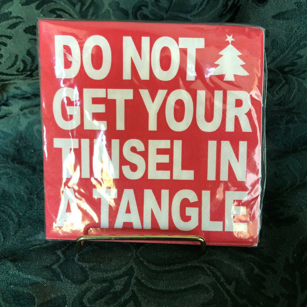 Do Not Get Your Tinsel In A Tangle Paper Cocktail Napkins 20 New In Packaging Crgibson Party In 2020 Paper Cocktail Napkins Cocktail Napkins Beverage Napkins