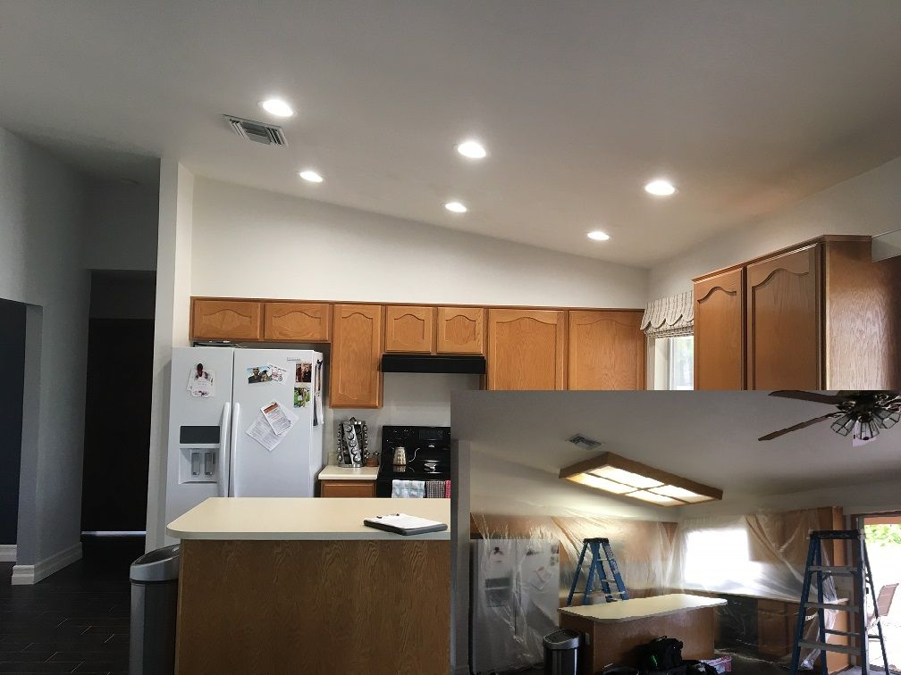 pot lights for kitchen narrow table remove lighting box install 6 led recessed and drywall patching