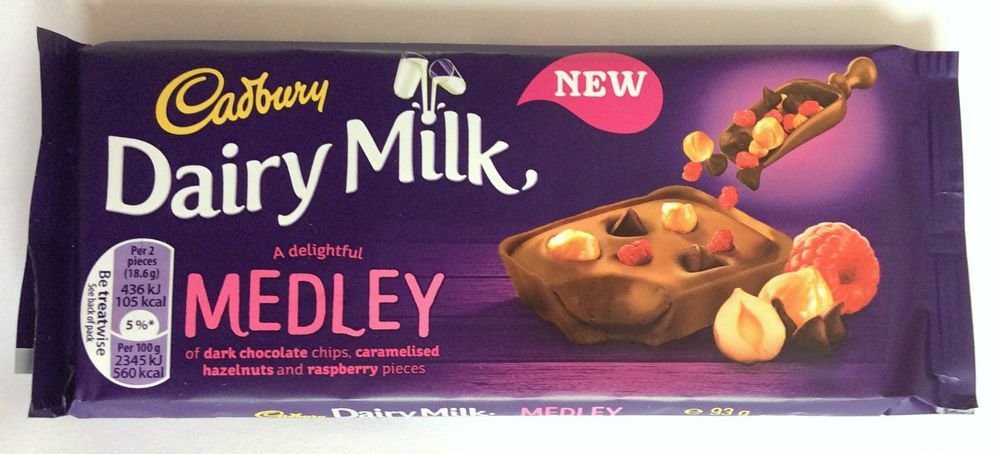 Cadbury Dairy Milk Medley Hazelnuts and Raspberry Chocolate Bar Limited Edition in Home, Furniture & DIY, Food & Drink, Sweets & Chocolate | eBay