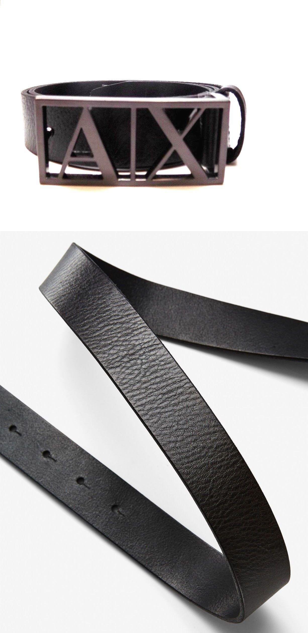e04947ef ... italy belts 2993 new men s armani exchange ax framed logo black  gunmetal leather 48b4f 88732