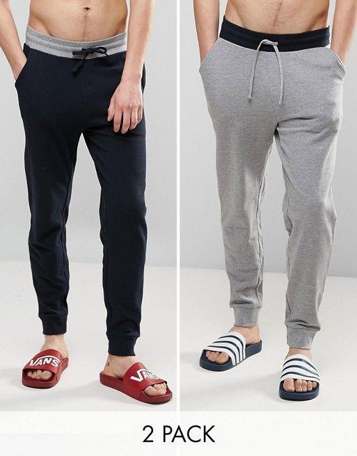 ASOS Skinny Jogger With Contrast Waistband 2 Pack Navy/Gray Marl. Skinny  JoggersAsos MenContrastFashion Online