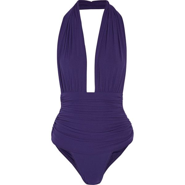 Norma Kamali - Mio Ruched Stretch-jersey Halterneck Swimsuit ($164) ❤ liked on Polyvore featuring swimwear, one-piece swimsuits, royal blue, high-waisted bikinis, halter bikini, high waisted bikini and high waisted swimsuit
