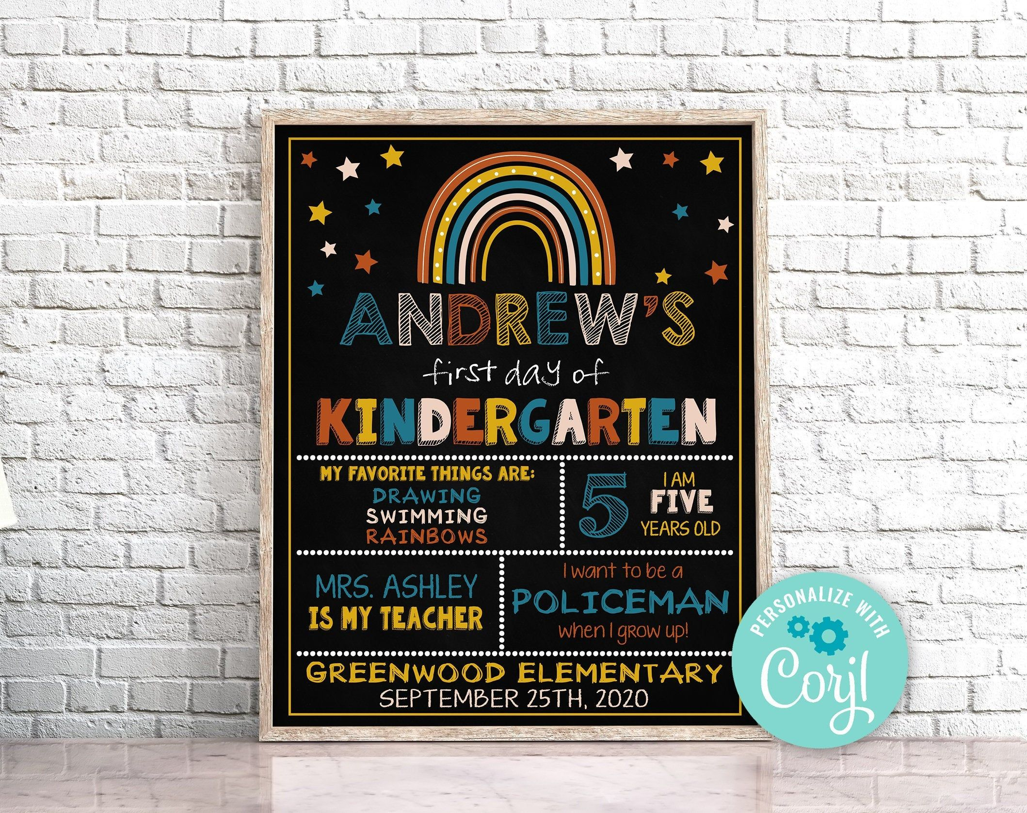 Editable First Day of Kindergarten Sign Boho Rainbow First