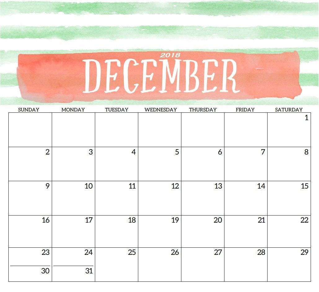 December 2018 Printable Calendar Template Print Free Calendar