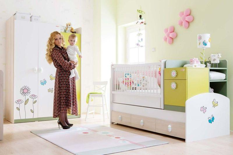 babyzimmer komplett einrichten - bunte babymöbel in grasgrün mit, Schlafzimmer