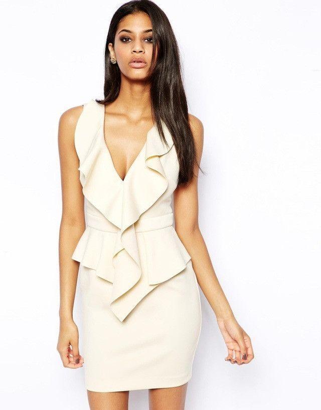 J.L.I Classy & Sexy Ruffles Peplum Beige Deep V-Neck Sleeveless Bodycon Dress M-XL