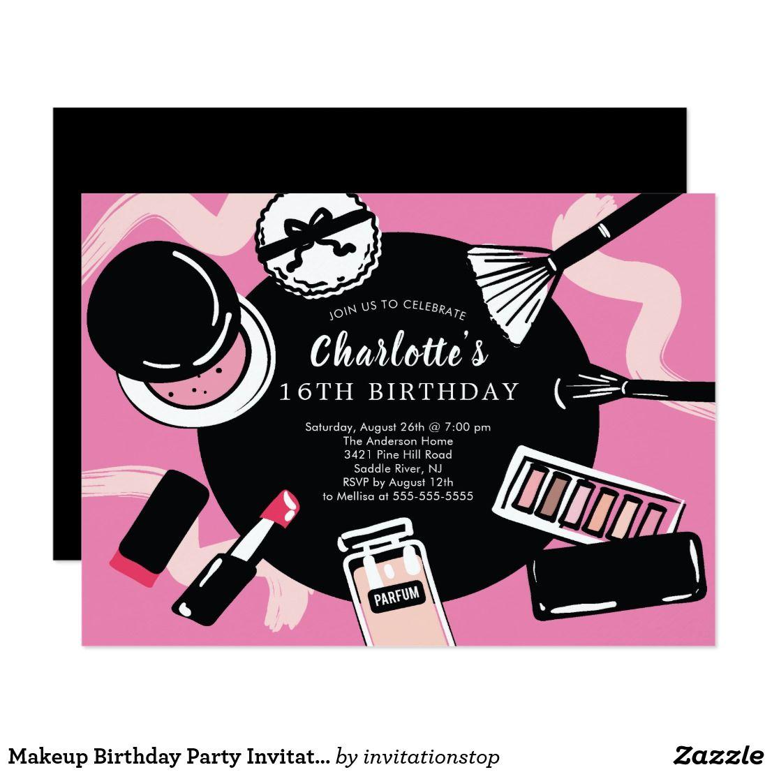 Makeup Birthday Party Invitation Zazzle Com Fondo De Pantalla Colorido Fondo