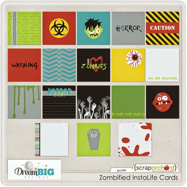 Quality DigiScrap Freebies: Zombified InstaLife Cards freebie from Dream Big Designs