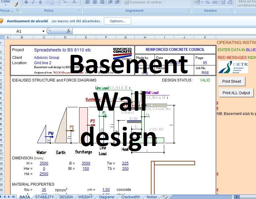 Basement Wall Design Excel Sheet Civil Engineering Program Civil Engineering Design Civil Engineering Civil Engineering Books