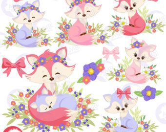 Cute Foxes and Flower Crowns Clipart by AlongTheEcliptic on Etsy