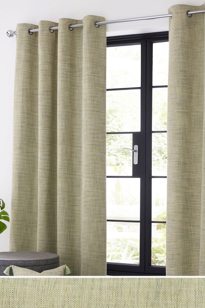 Next Tweedy Twist Eyelet Curtains Green Lined Curtains