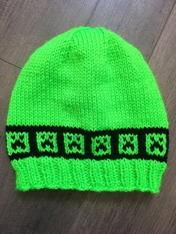 Creeper Knit Hat. Hand Knit in the Style of Minecraft. Green   Black Beanie 873a2f016ce
