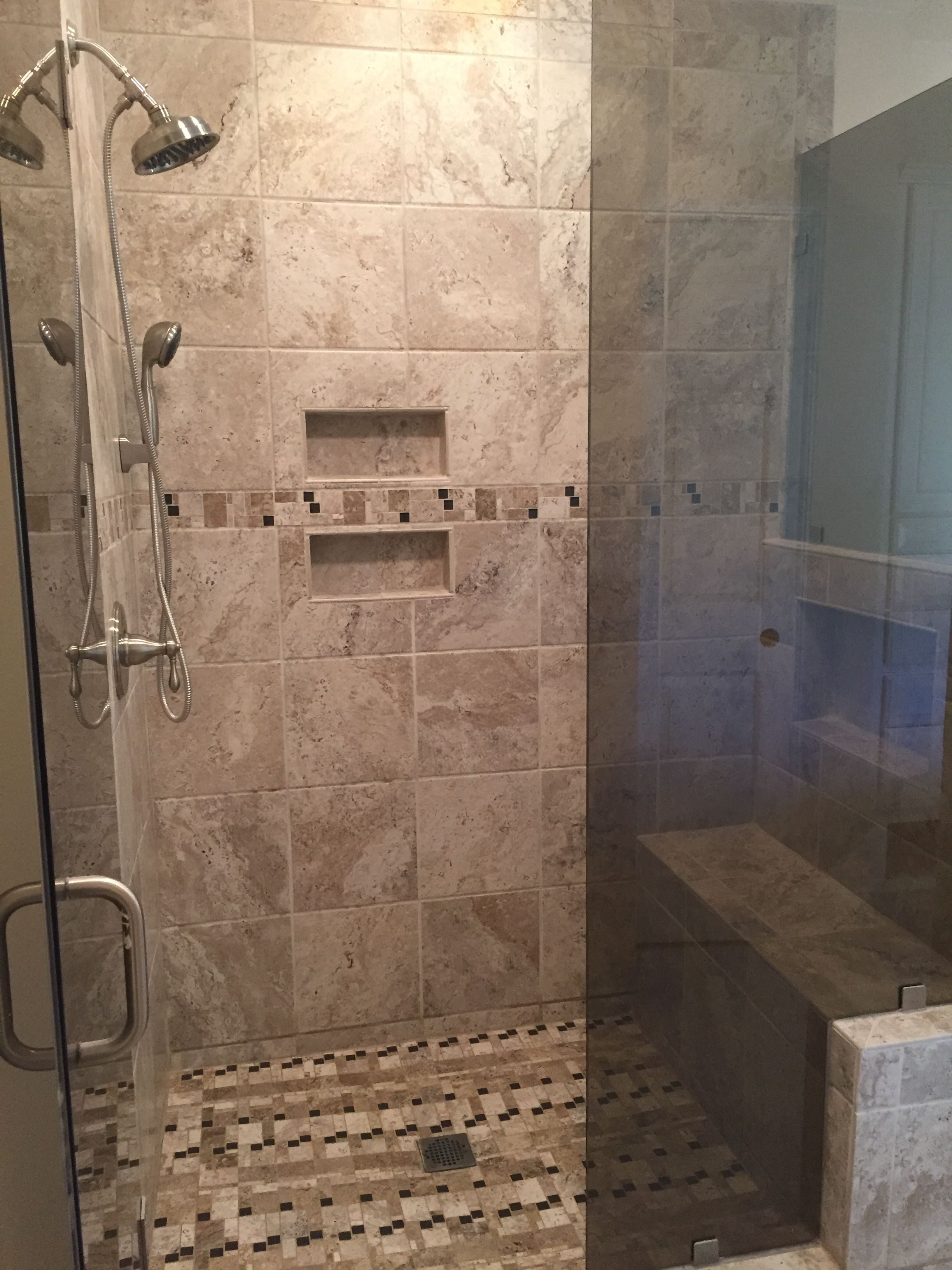 Custom Tile Shower With Bench And Built In Shelves With Images