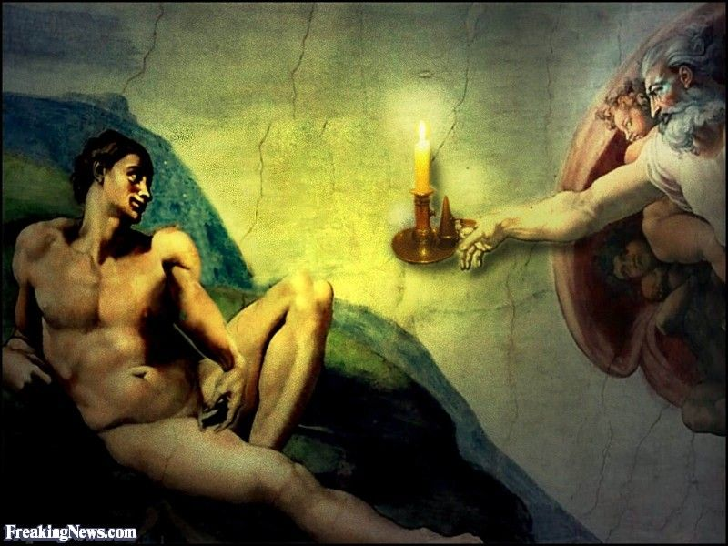 Creation of adam painting by candle light creation of for Creation of adam mural