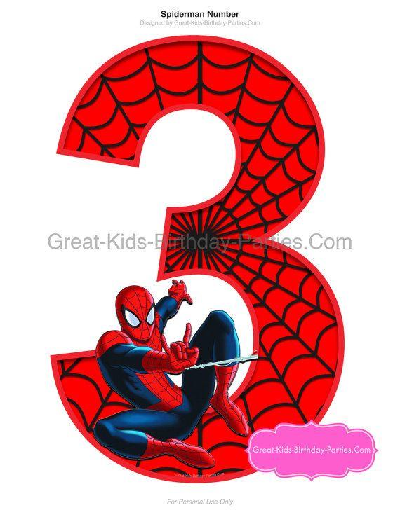 Spiderman Printable Number 3 Centerpiece Instant Download