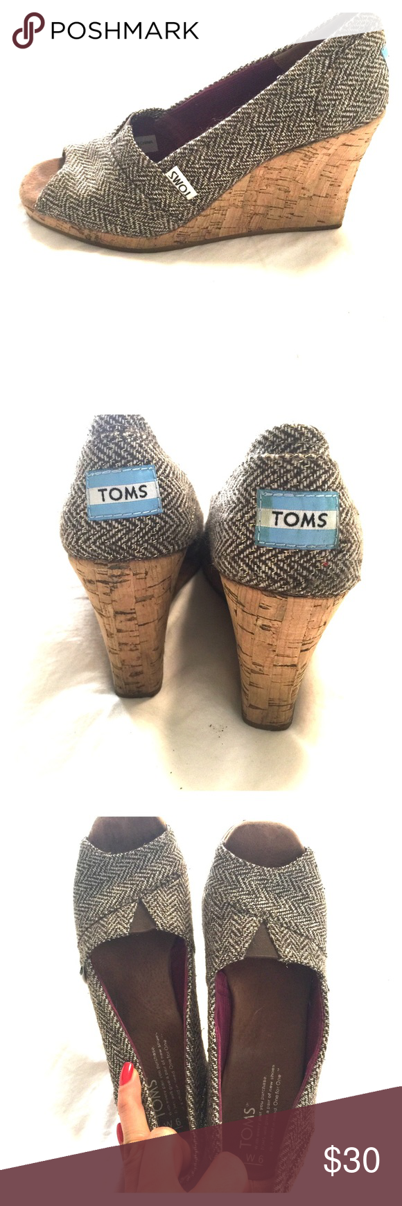 TOMS cork wedge sandal TOMS cork wedge sandal. Very pretty, comfortable wedge in very good condition! TOMS Shoes Wedges