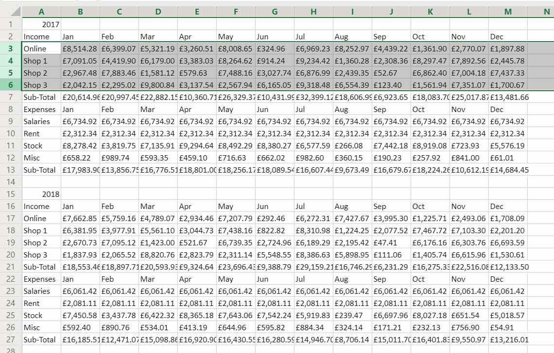 Grouping rows and columns in Excel lets you collapse and