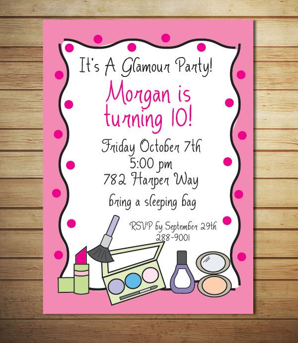 spa party invitation glamour birthday party makeup party printable