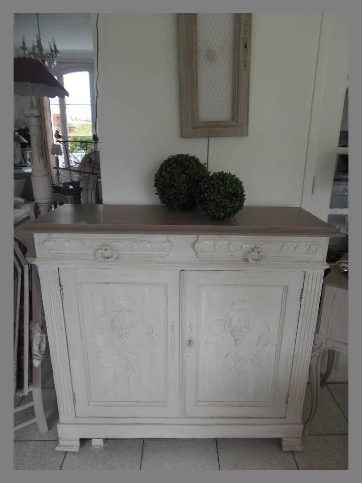 meuble buffet patine gris perle blanc