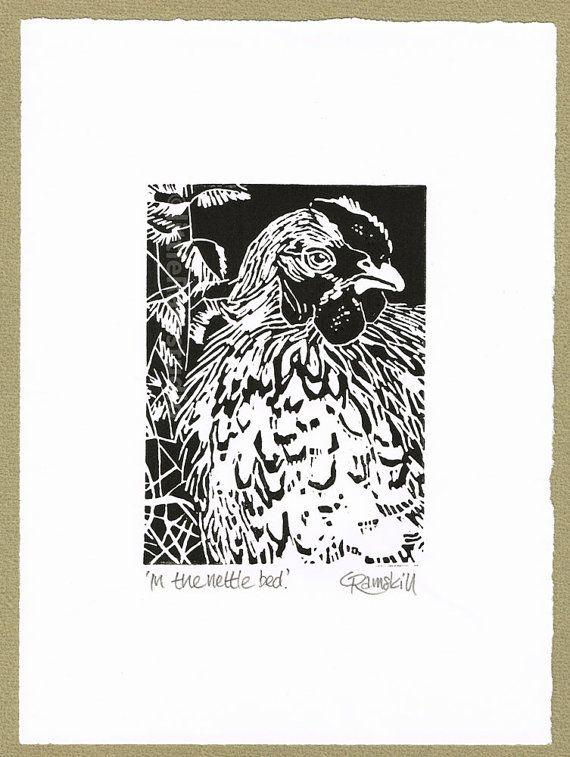 Hen  in the nettle bed  Linocut Original hand by littleRamstudio, £15.00
