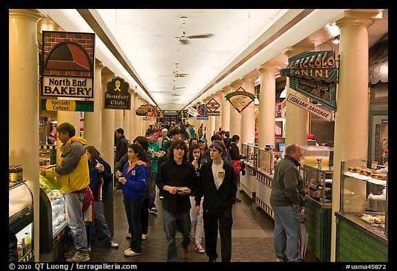 Food Hall Quincy Market Colonnade Boston Machussets Usa Color