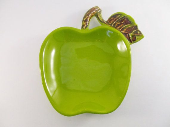 USA Pottery Green Apple Spoon Rest VF61 by ThreeBestGirls on Etsy, $8.00