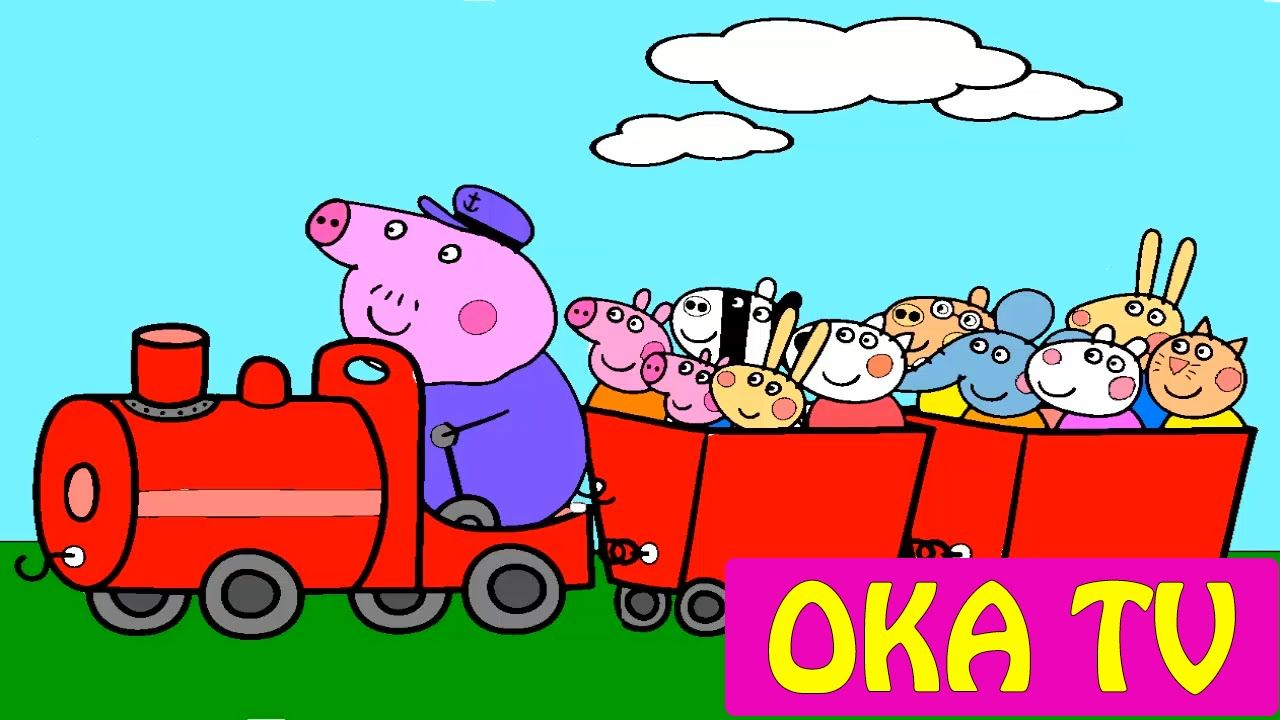 New! Coloring Book | Peppa Pig Grandpa Pig\'s Train Coloring Pages ...