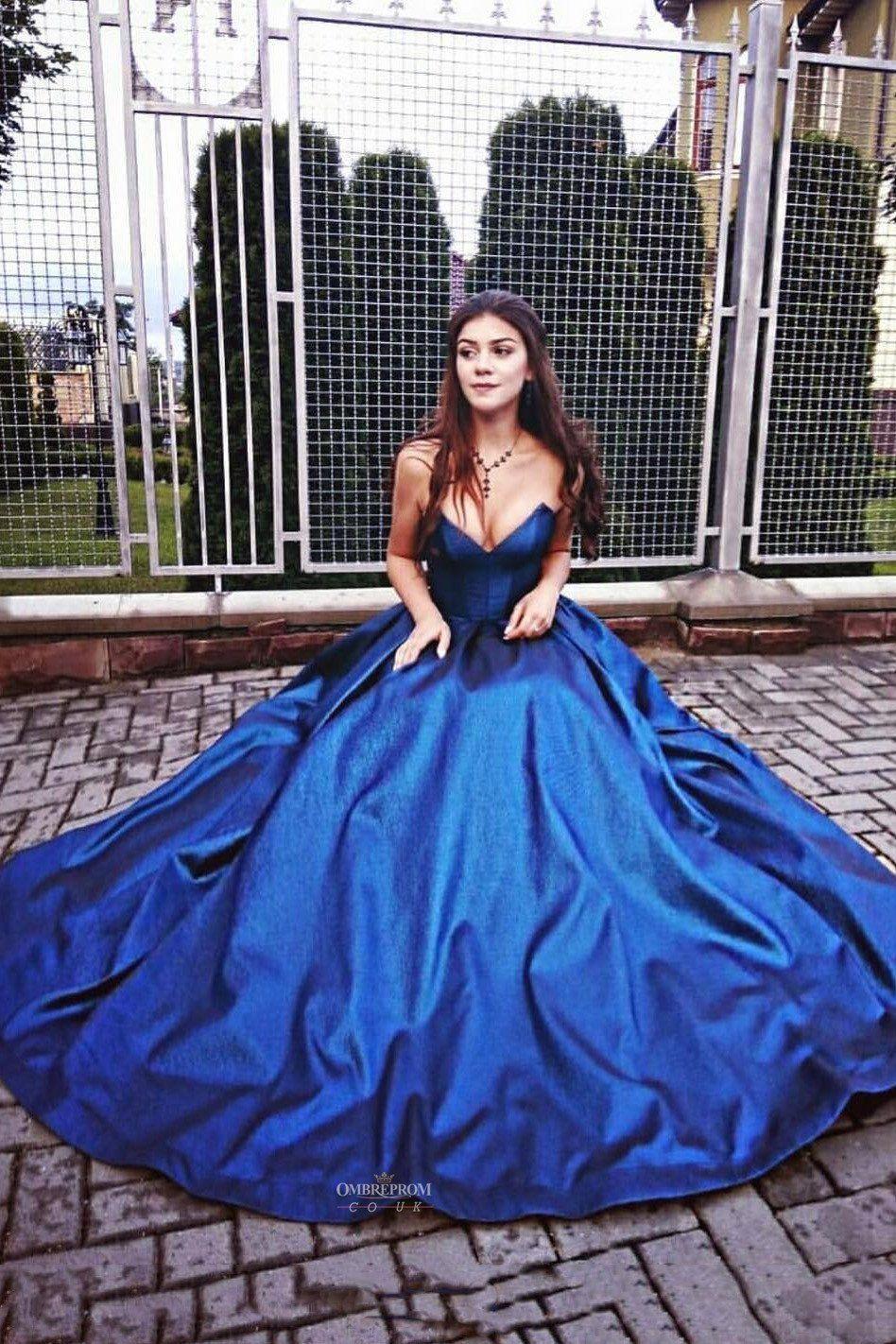 Buy strapless royal blue aline princess sweetheart long