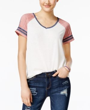 Hippie Rose Juniors' V-Neck Football T-Shirt - Red XL