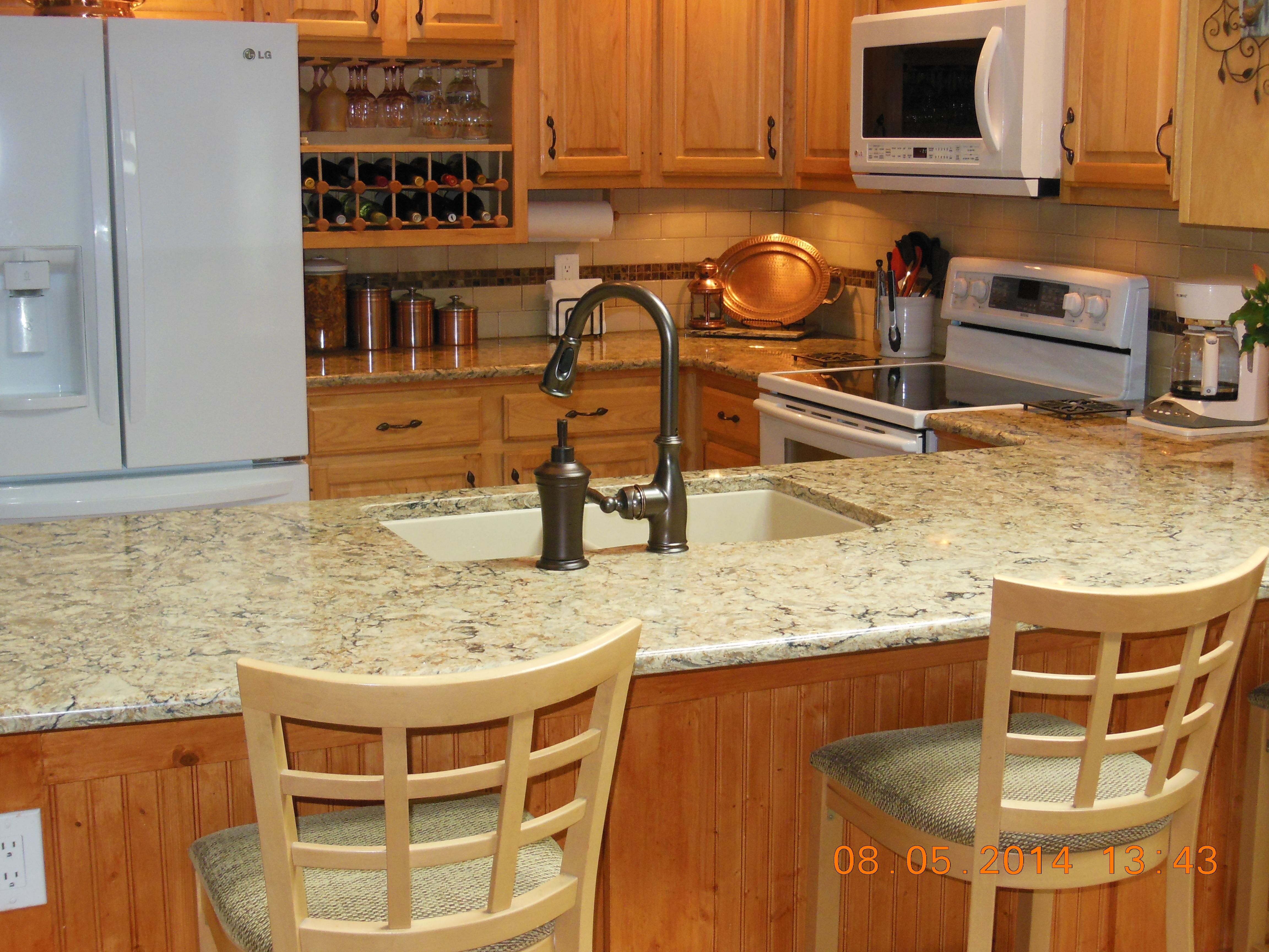 We got Cambria countertop in Bradshaw with our white