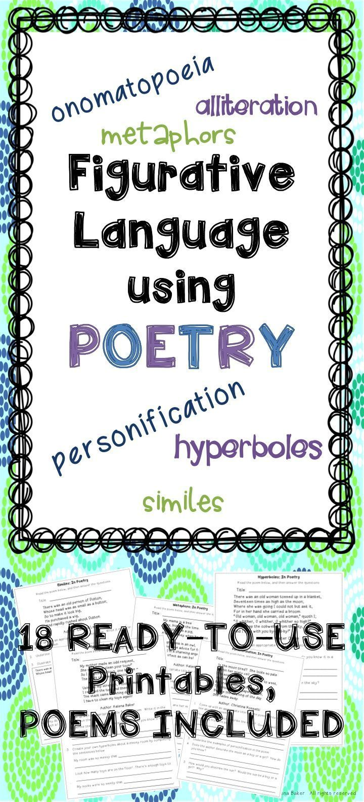 Figurative Language Using Poetry Ready To Use Worksheets Poems Included Teaching Figurative Language Figurative Language Figurative Language Poetry