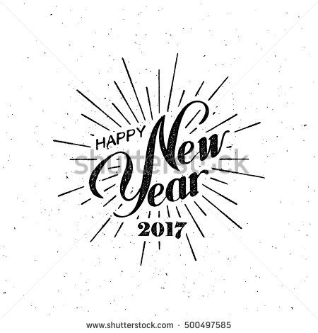Happy New 2017 Year. Holiday Vector Illustration With Lettering