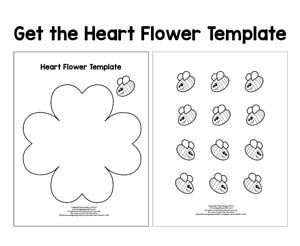 Paper Heart Flower Craft With Template Flower Crafts Flower Heart Paper Heart