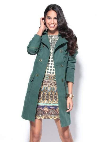 Botones De Moda Venca Volantes Mujer Verde Con Abrigo Y qpZSCCw