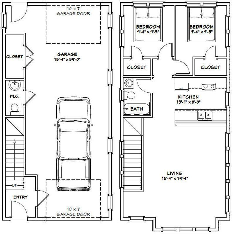 20x40 House 2 Bedroom 1 5 Bath 883 Sq Ft Pdf Floor Plan Instant Download Model 8f Cabin House Plans Garage Apartment Floor Plans Tiny House Floor Plans