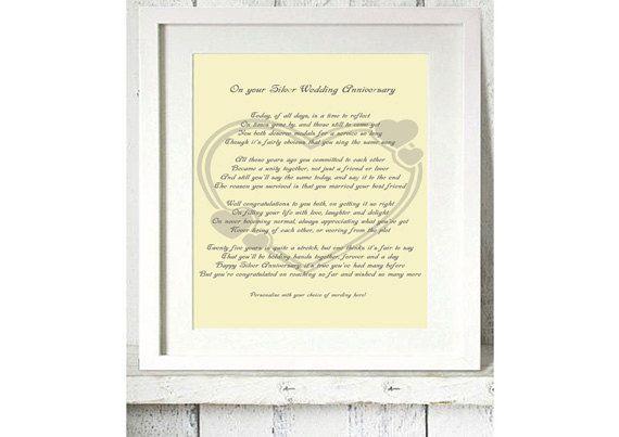 Silver Th Wedding Anniversary Personalised Poetry Gift X Customised Poem