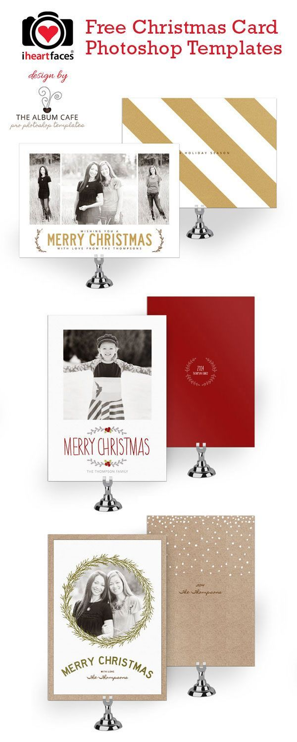 Free Christmas Card Photoshop Templates Exclusive Designs By The Album Cafe For Iheartfaces Com